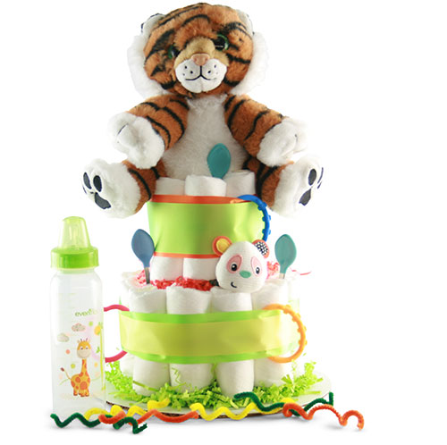 Lions and Tigers, Oh My - Baby Diaper Cake