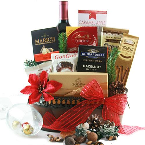 Chocolate Red Wine Christmas Wine Baskets