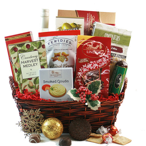 Holly Jolly Christmas Wine Gift Basket
