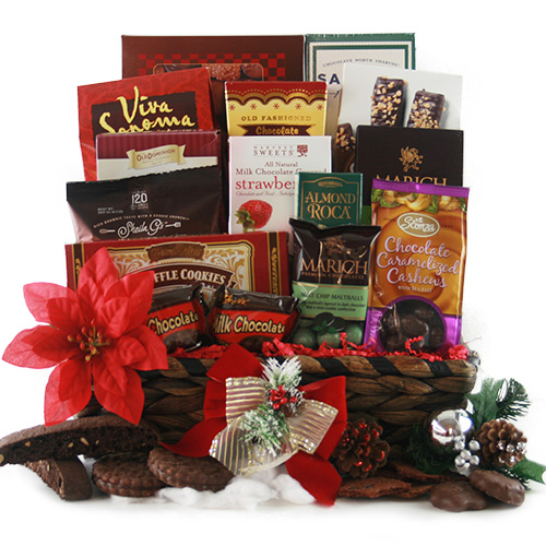 Holly Jolly Chocolate Christmas Gift Basket