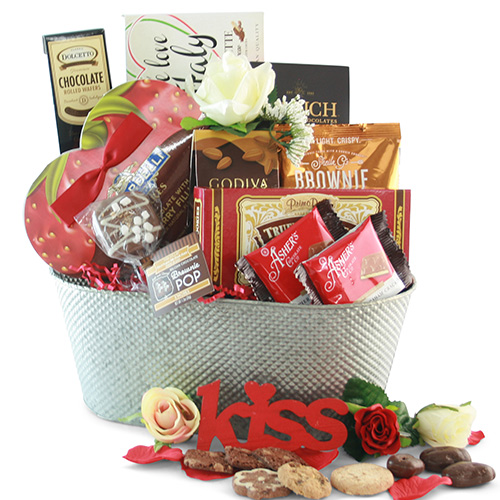 Kiss Me Valentines Gift Basket