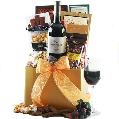 red wine classic wine gift basket