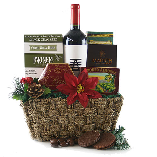 Tidings of Joy Christmas Wine Gift Basket