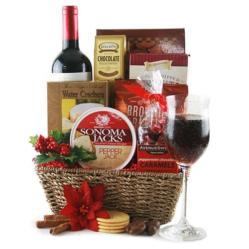 Tidings of Joy Christmas Wine Gift Basket