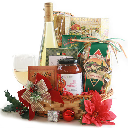 White Wine Holiday Wine Gift Bakset