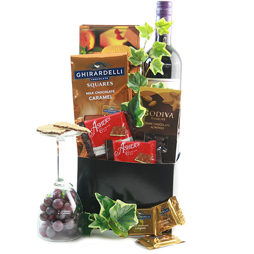 Wine Chocolate Wishes Wine Gift Basket